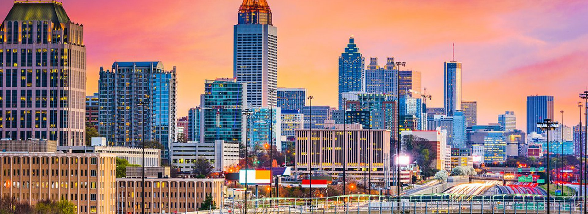 Atlanta, Georgia, USA downtown skyline at dawn.